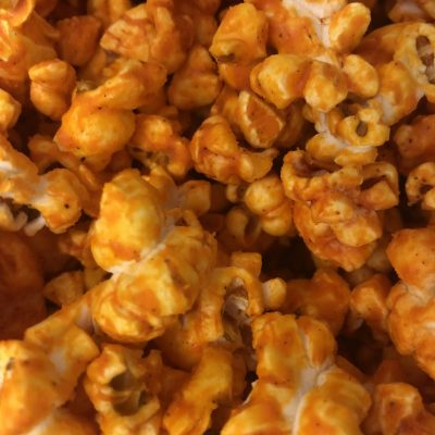 Cheesy Buffalo Breath popcorn